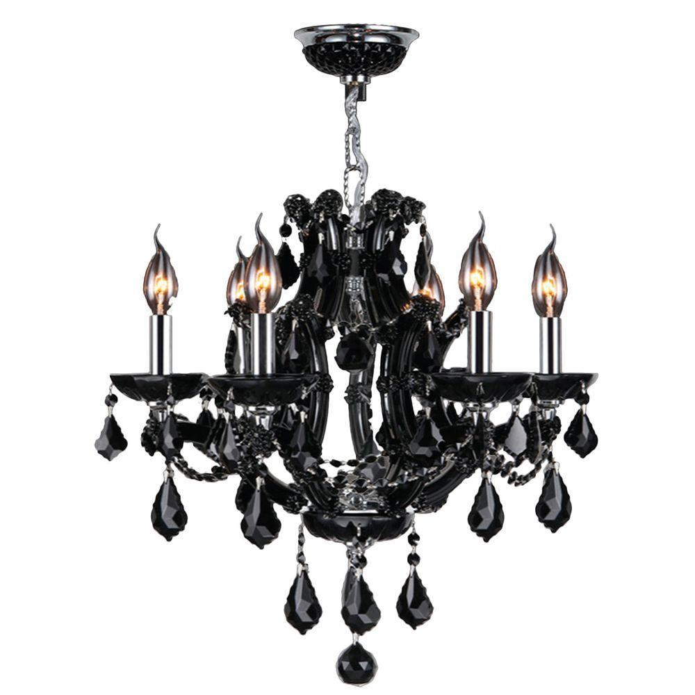 Lyre Collection 6-Light Chrome with Black Crystal Chandelier
