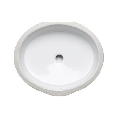 Verticyl Oval Vitreous China Undermount Bathroom Sink in White with Overflow Drain
