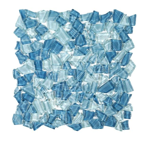 Seaglass Pebble Blue 11.875 in. x 11.875 in. Glossy Glass  Mosaic Tile (0.979 sq. ft./Each)