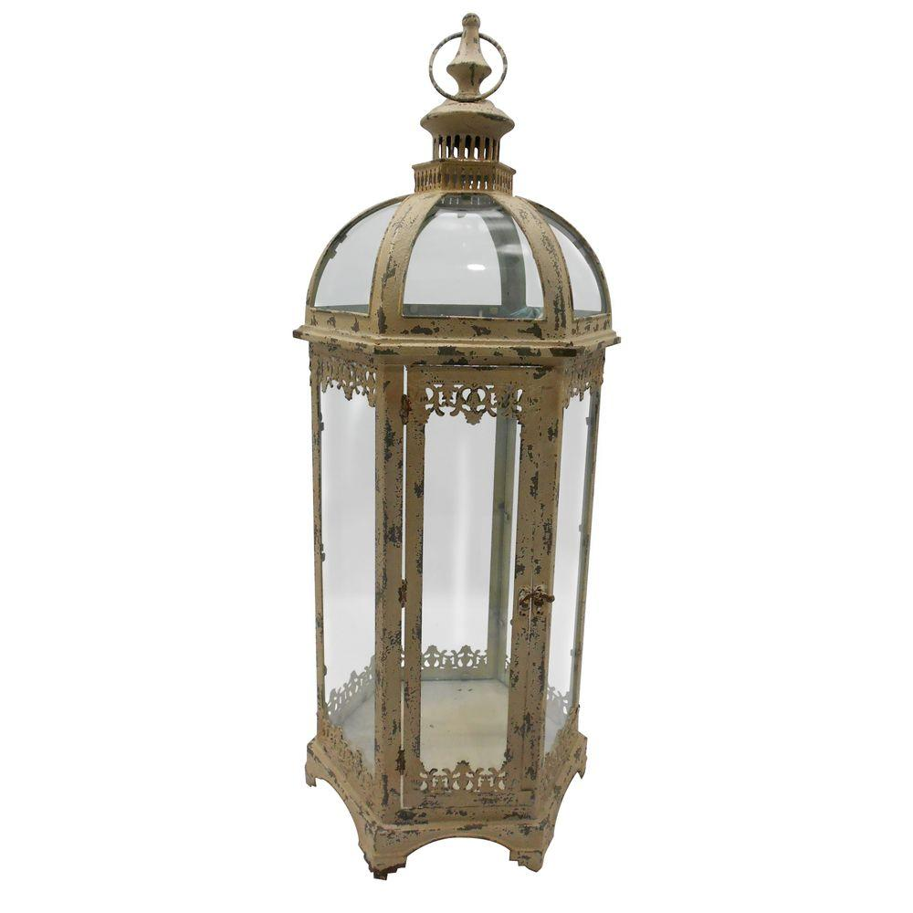 null 12 in. W x 31 in. H Hexagonal Glass Candle Lantern with Metallic Frame-DISCONTINUED