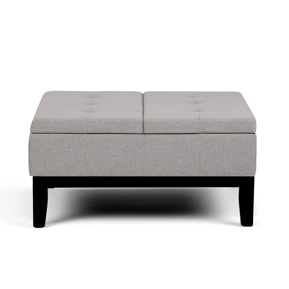 Simpli Home Dover Cloud Grey Square Coffee Table Ottoman With Split Lift Up  Lid
