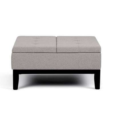 Dover Cloud Grey Square Coffee Table Ottoman With Split Lift Up Lid