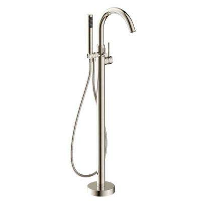 Kros Series 2-Handle Freestanding Claw Foot Tub Faucet with Hand Shower in Brushed Nickel