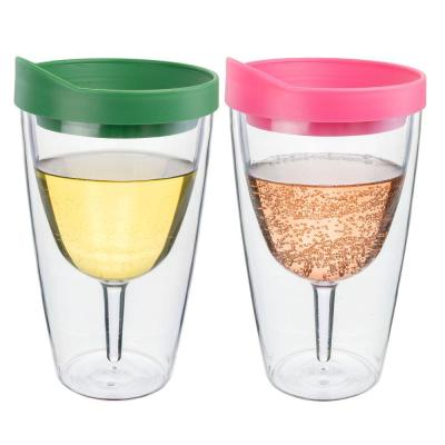 2-Piece Pink and Verde Double Wall Acrylic Insulated Wine Tumbler Set