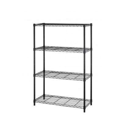 36 in. x 14 in. 4-Tier Wire Adjustable Steel Shelf Rack in Black