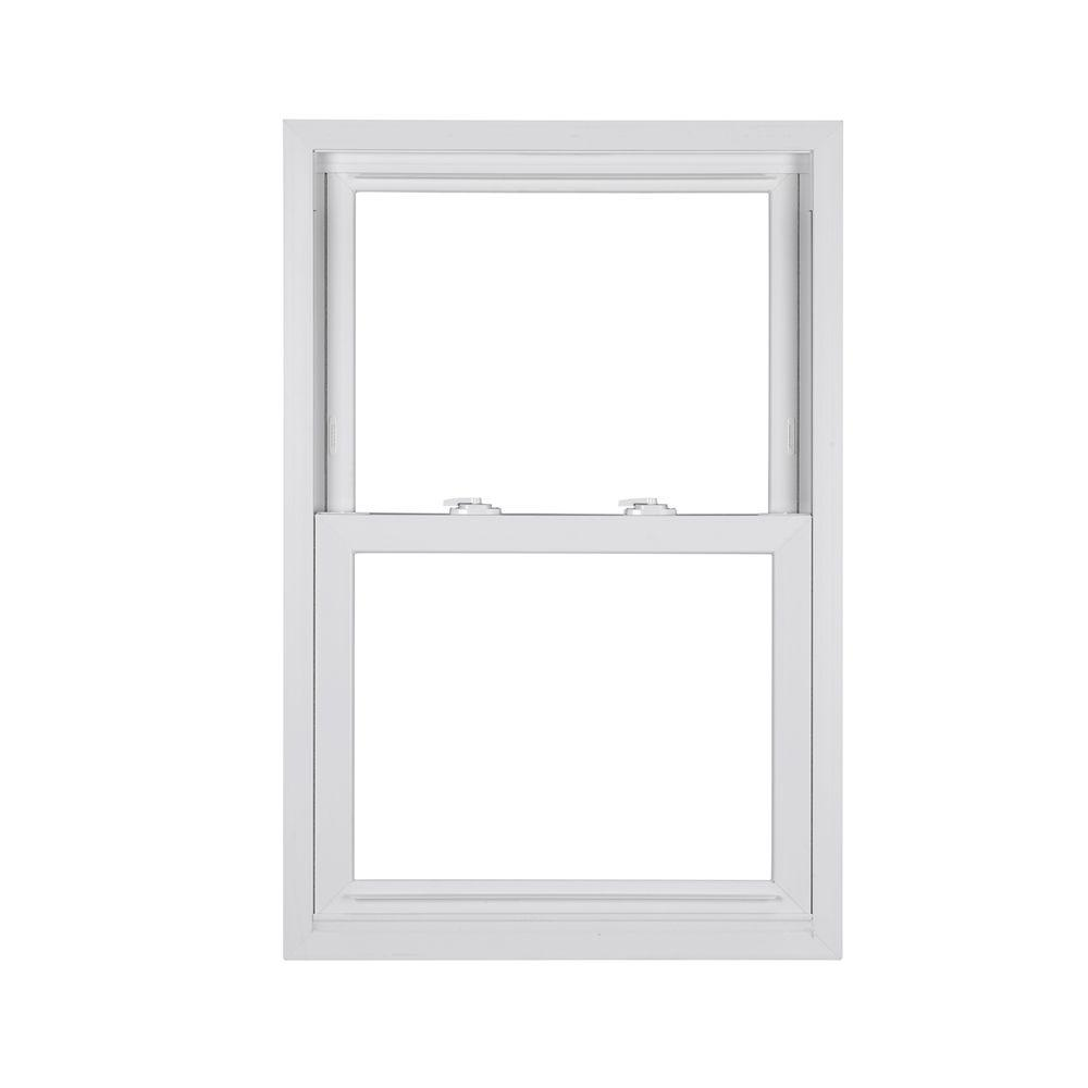 Simonton 24 in x 36 in madeira double hung vinyl window for Window treatments for double hung windows