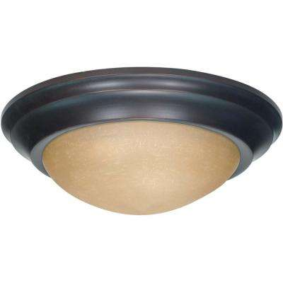 3-Light Mahogany Bronze Flushmount Twist and Lock with Champagne Linen Washed Glass