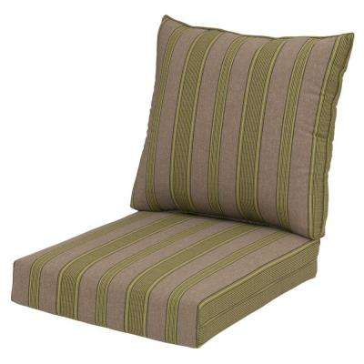 Luxe Stripe Rapid-Dry Deluxe 2-Piece Outdoor Deep Seating Cushion