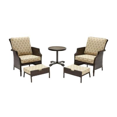 Grayson 5-Piece Brown Wicker Outdoor Patio Small Space Seating Set with CushionGuard Toffee Trellis Tan Cushions