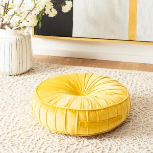 Clary 18 in. x 18 in. Polyfill Mustard Round Floor Pillow