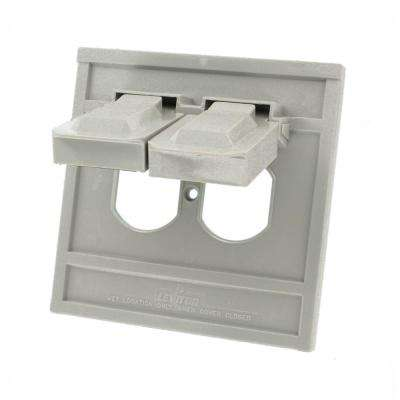 1-Gang Oversized Raintight Weather Resistant Duplex Receptacle Horizontal Mount Wall Plate in Gray