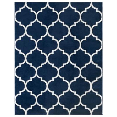 Royal Collection Navy Trellis Design 5 ft. 3 in. x 7 ft. Area Rug
