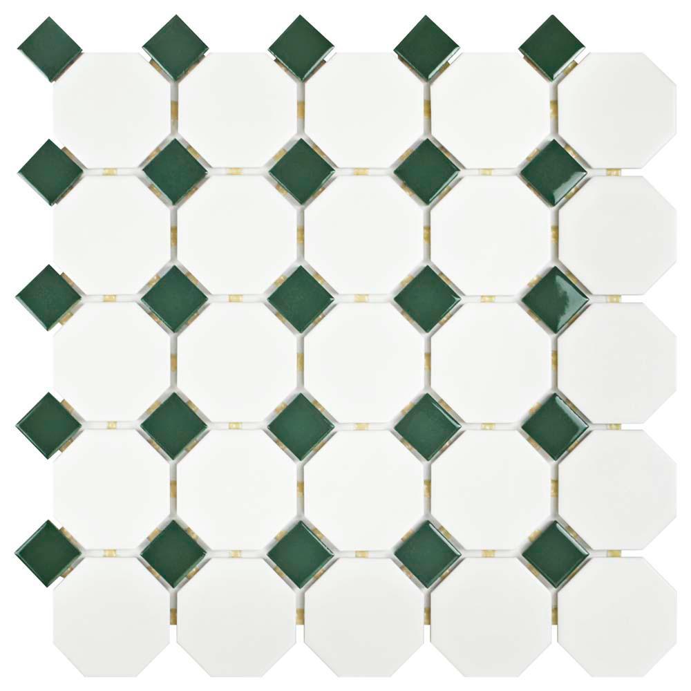 Merola Tile Metro Octagon Matte White With Green 11 1 2 In