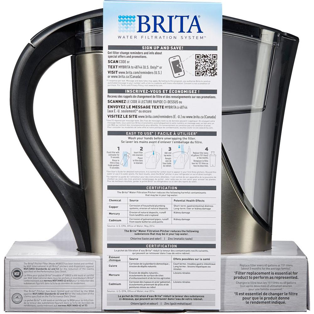 Brita 8-Cup Filtered Water Pitcher in Stainless Steel, BPA Free