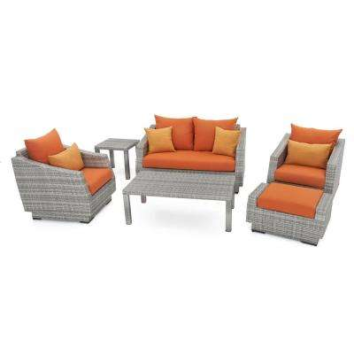 Cannes 6-Piece Loveseat Patio Deep Seating Set with Tikka Orange Cushions