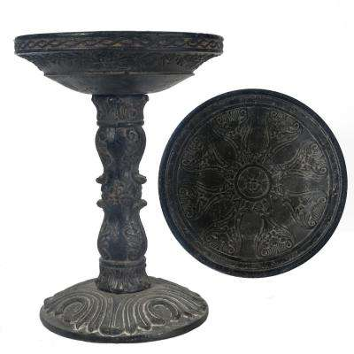 26.5 in. H Cast Stone Rose Aged Charcoal Finish Birdbath