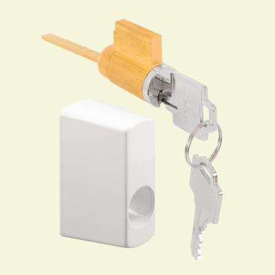 Sliding Door Keyed Locking Unit in White Diecast, 1-3/4 in. Hole Centers