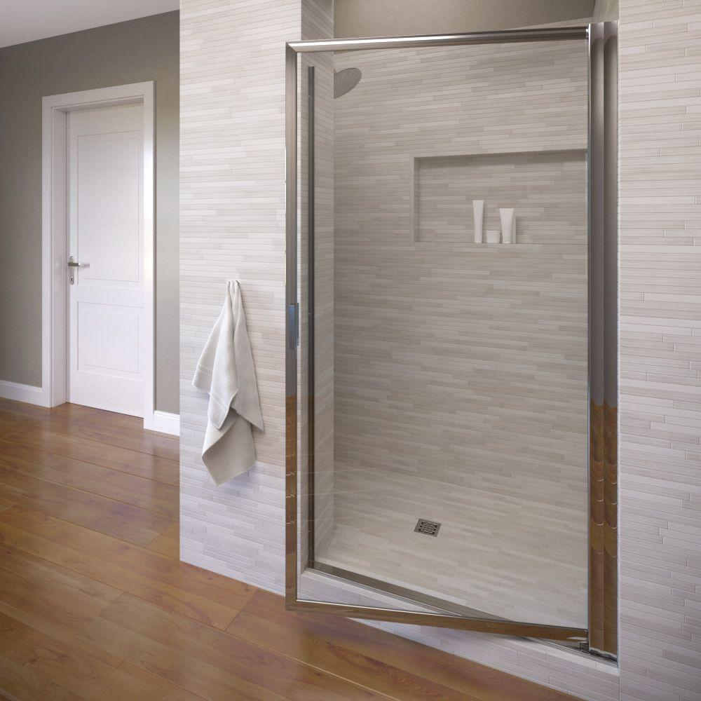 Basco Sopora 34 7 8 In X 67 Framed Pivot Shower Door Chrome With Clear Gl