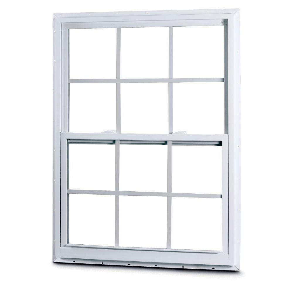 American Craftsman 35-3/8 in. x 35-1/4 in. 50 Series Single Hung White Vinyl Window with Nailing Flange and Colonial Grilles