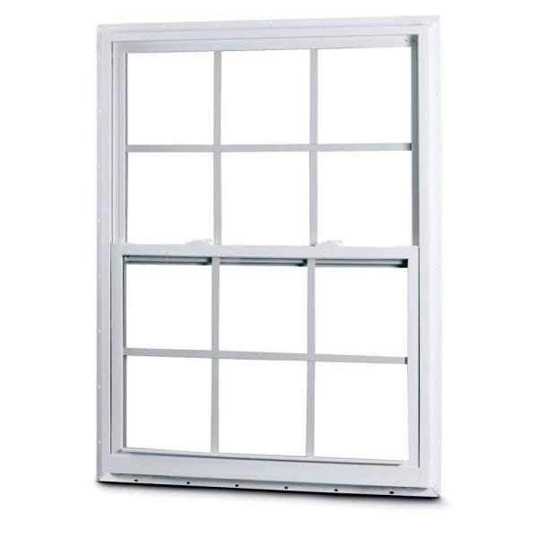American Craftsman 31 3 8 In X 35 1 4 In 50 Series Single Hung White Vinyl Window With Nailing Flange And Colonial Grilles 50 Sh Fin The Home Depot