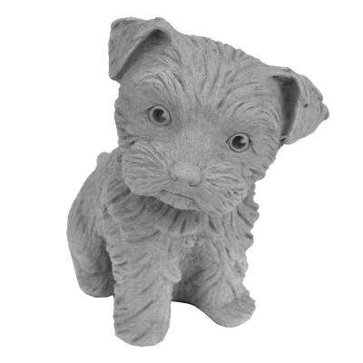 Cast Stone Yorkshire Puppy Garden Statue - Antique Gray