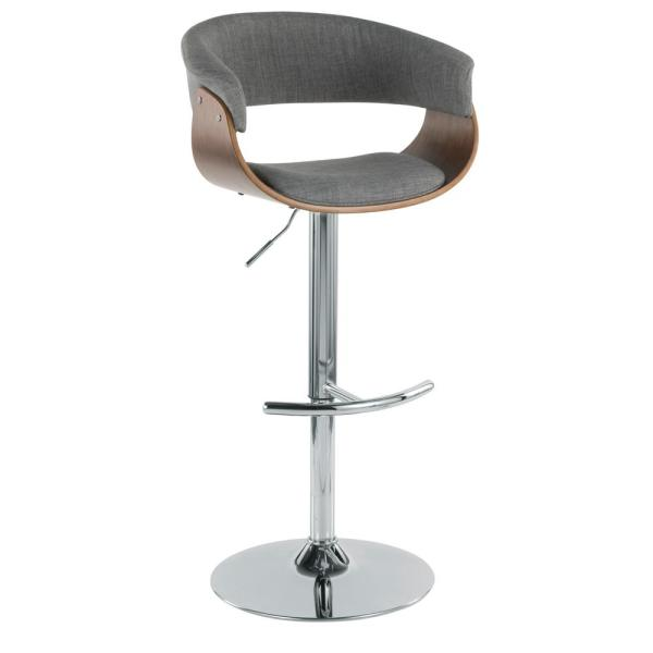 Vintage 32 in. Mod Adjustable Bar Stool in Walnut and Light Grey