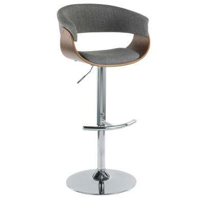 Vintage 32 in. Mod Adjustable Barstool in Walnut and Light Grey