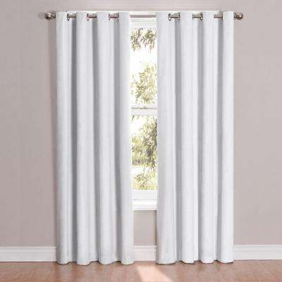Cassidy Blackout White Polyester Grommet Curtain Panel, 84 in. Length