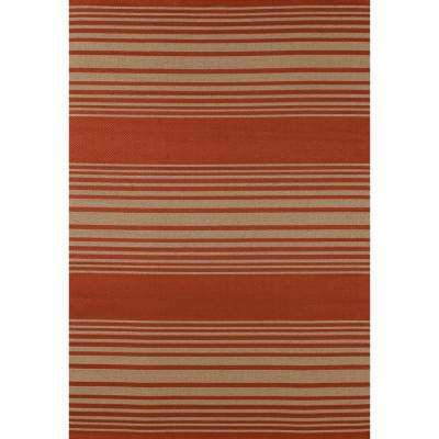Plymouth Nautical Red 8 ft. x 11 ft. Indoor/Outdoor Area Rug