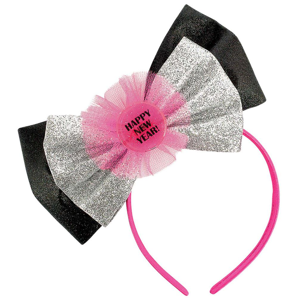 AMSCAN New Year's 8.5 in. Headband with Bow (2-Pack), Silver