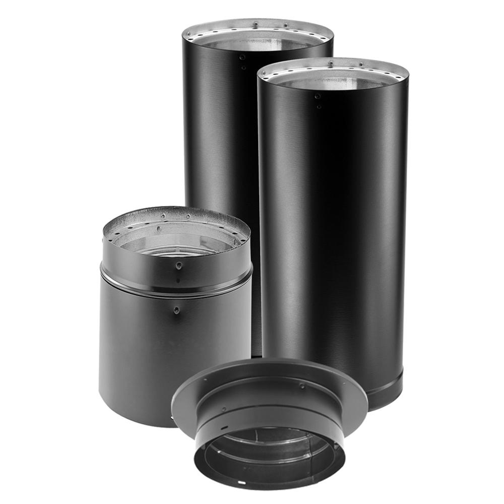 Duravent Dvl 6 In X 60 In Double Wall Close Clearance Stove Pipe Connector Kit In Black 6dvl Kvp The Home Depot