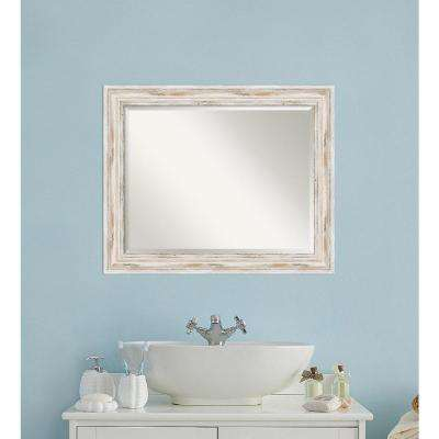 Alexandria White wash Wood 33 in. W x 27 in. H Distressed Bathroom Vanity Mirror