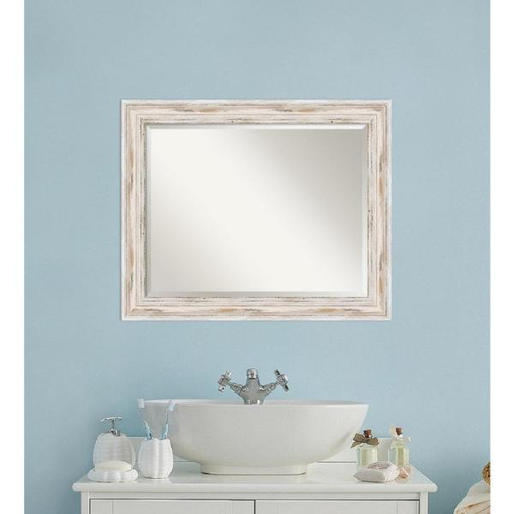 Alexandria 33 in. W x 27 in. H Framed Rectangular Beveled Edge Bathroom Vanity Mirror in Distressed Whitewash