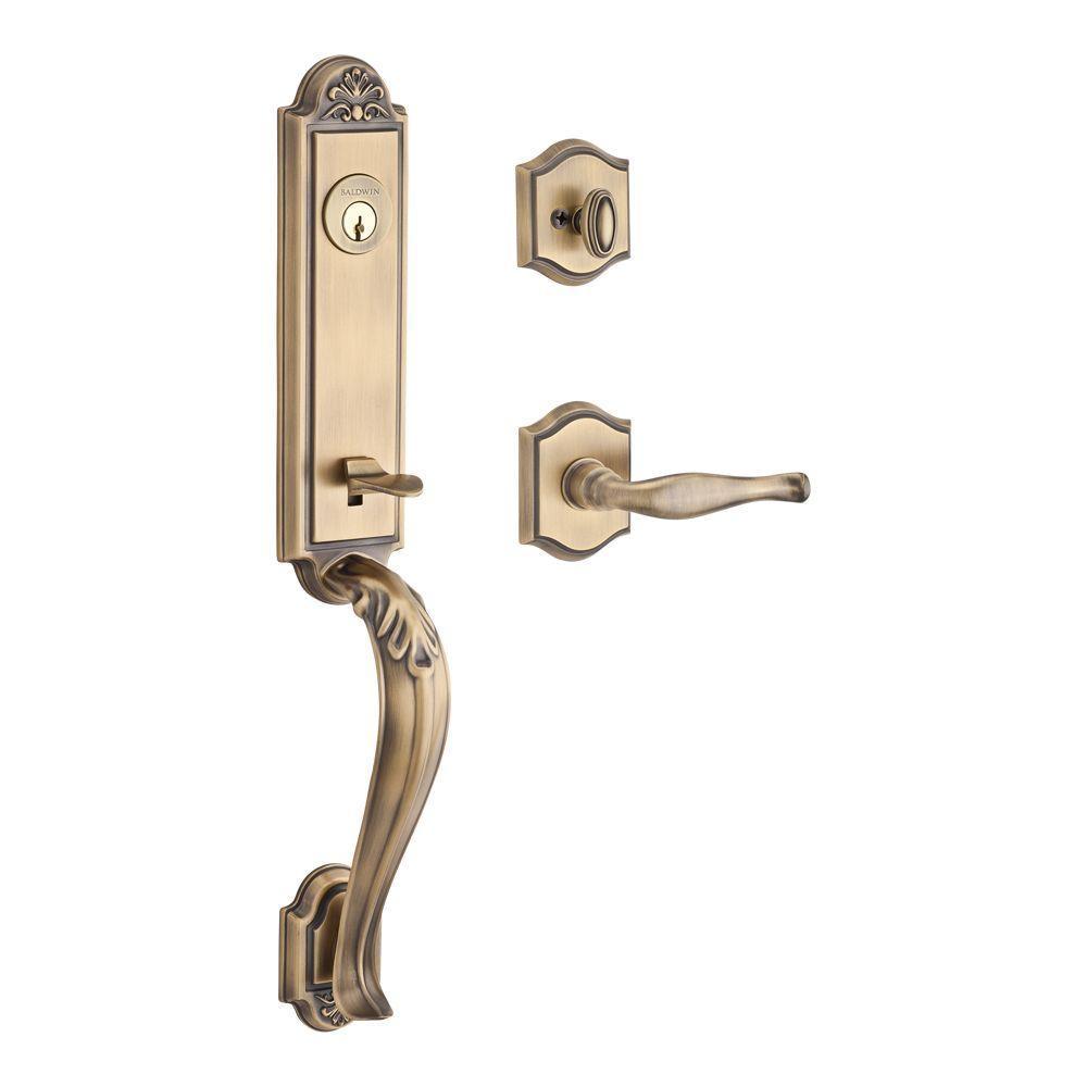 Elizabeth Single Cylinder Matt Brass And Black Door Handleset