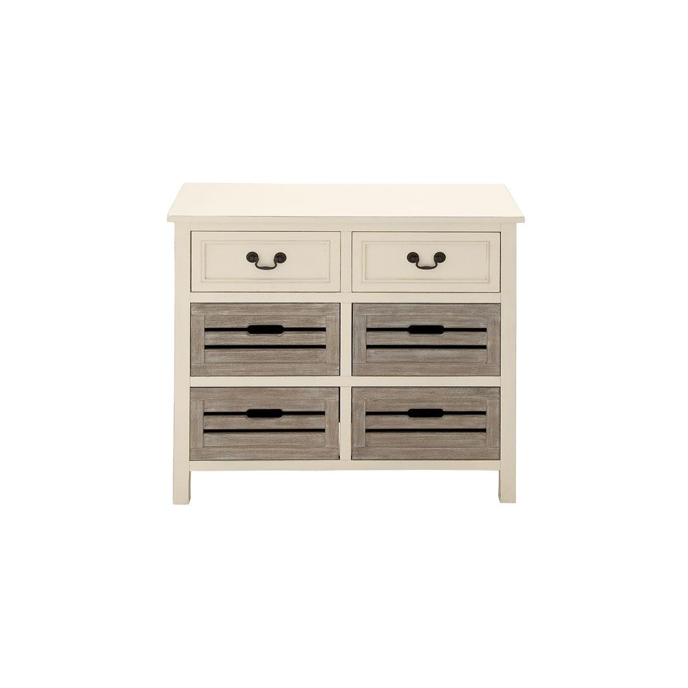 6-Drawer White and Taupe Crate Chest