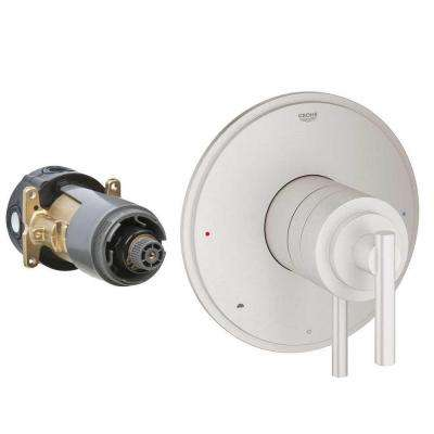 Timeless Single Handle GrohFlex Universal Rough-In Box Dual Function Pressure Balance Valve in Brushed Nickel