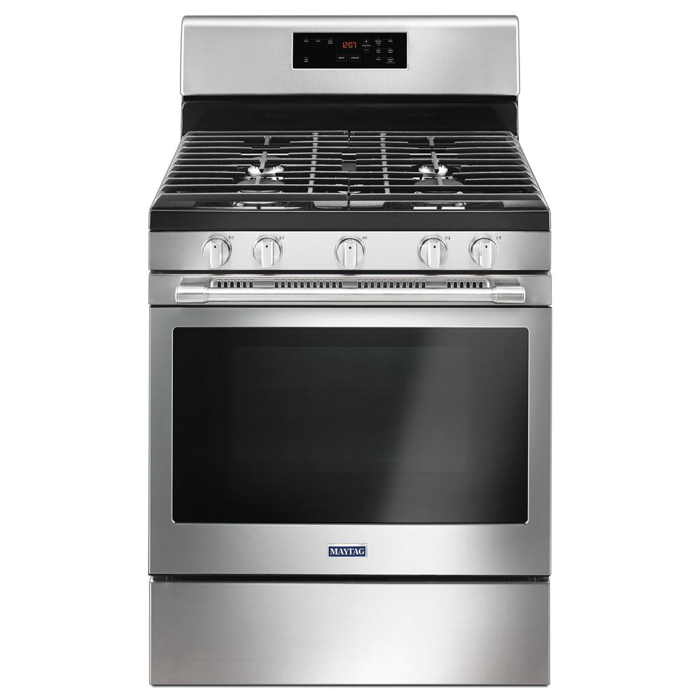 Maytag 5 0 Cu Ft Gas Range With 5th Oval Burner In Fingerprint Resistant Stainless