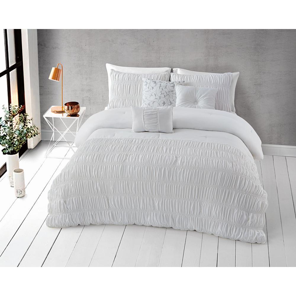 Harley 6-Piece Bright White Queen Comforter Set 11-0601 TPX