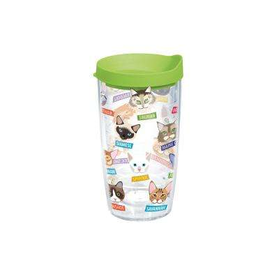 Flat Art Cat Breeds 16 oz. Clear Tumbler with Lid