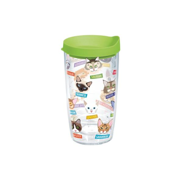 Tervis Flat Art Cat Breeds 16 oz. Clear Tumbler with Lid