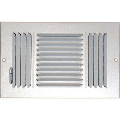 6 in. x 12 in. Ceiling/Sidewall Vent Register, White with 3-Way Deflection