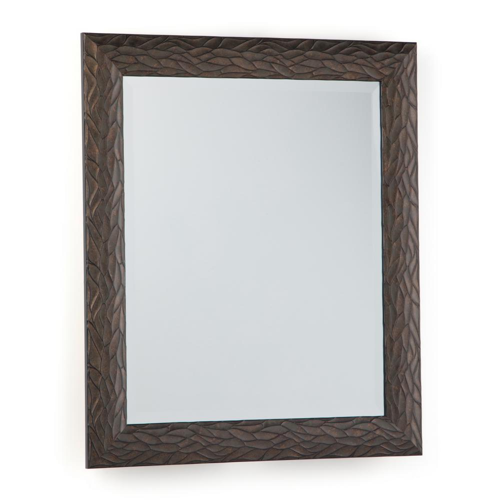 Simpli Home Maya 29 in. x 25 in. Rectangular Transitional Decor Mirror in Antique Bronze