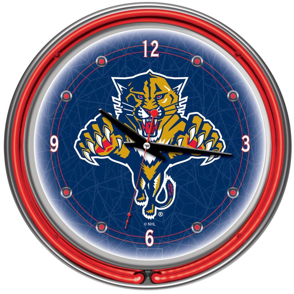 Trademark 14 in. Florida Panthers NHL Neon Wall Clock