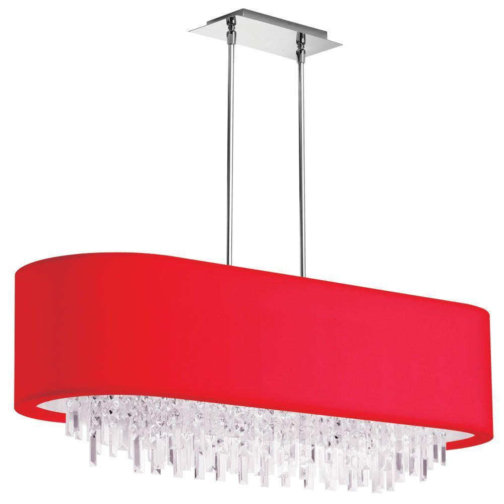 Jasmine 8-Light Polished Chrome Oval Crystal Chandelier with Red Lycra Shade