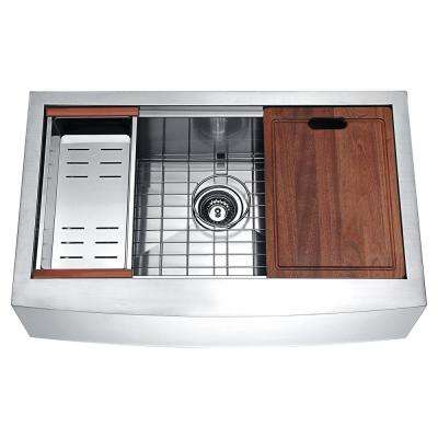 Aegis Stainless Steel Farmhouse 33 in. Single Bowl Kitchen Sink with Cutting Board and Colander