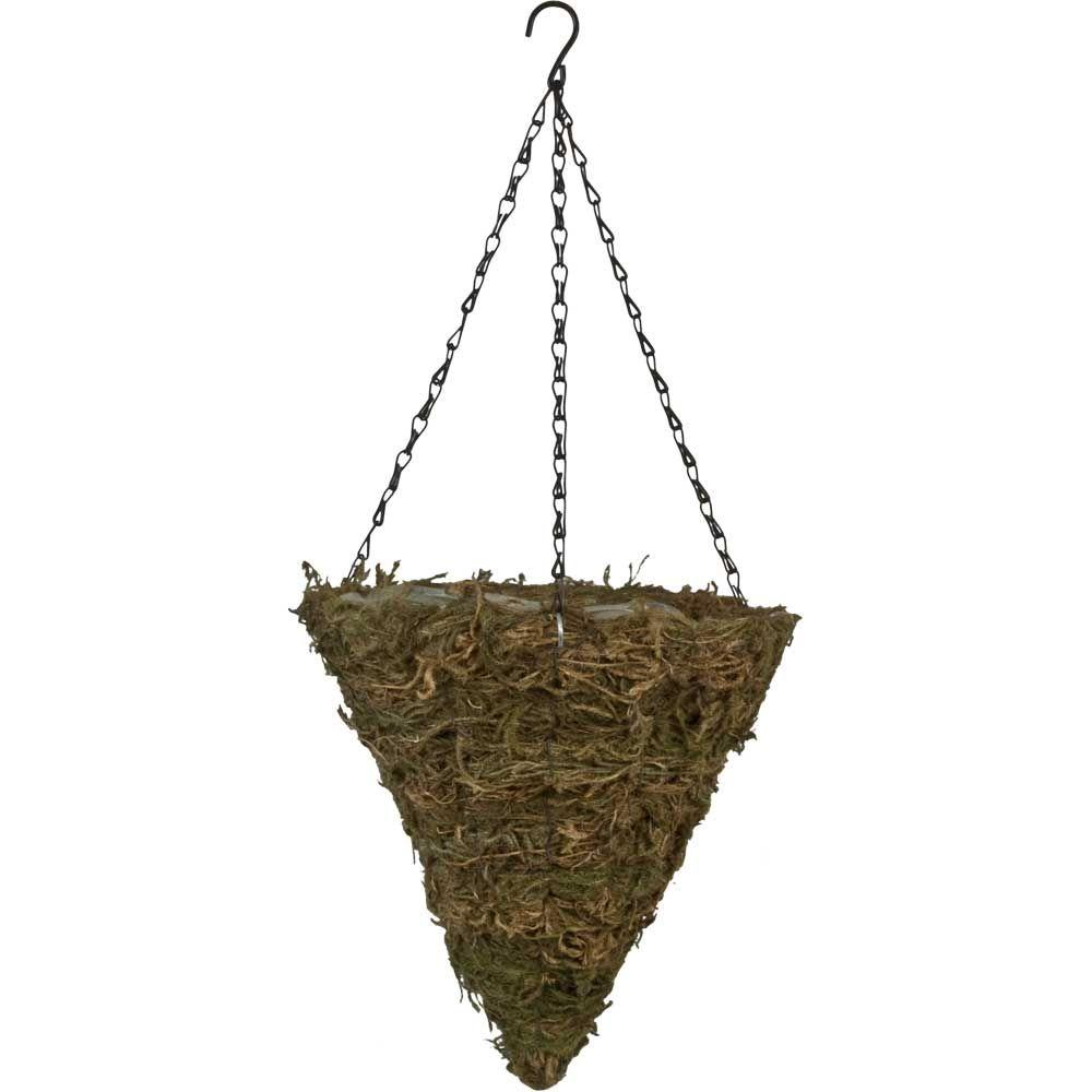 12 in. Fern Moss Cone Coconut Fiber Hanging Planter with Brown