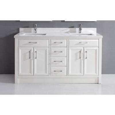 Calais 63 in. Vanity in White with Solid Surface Marble Vanity Top in White