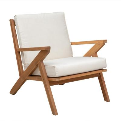Oslo Stationary Solid Wood Outdoor Lounge Chair with Beige Cushion