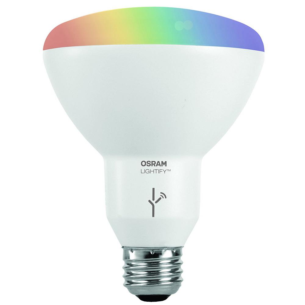 Sylvania 65w Equivalent Multi Color And Adjustable White Br30 Smart Led Light Bulb 73739 The