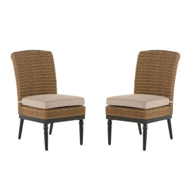 Camden Light Brown Seagrass Wicker Outdoor Patio Armless Dining Chair with CushionGuard Putty Tan Cushions (2-Pack)
